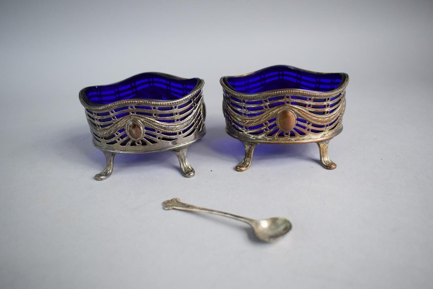 Lot 99 - A Set of Six Gilt Brass Teaspoons Together with Two Pierced Salts with Cobalt Blue Glass Liners