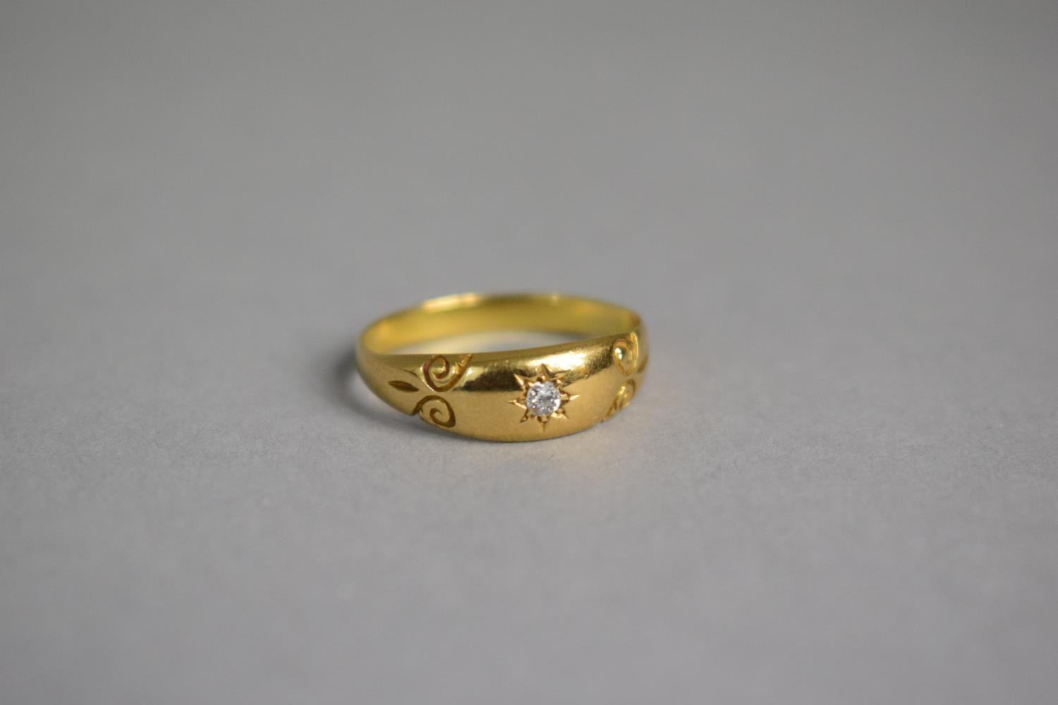 Lot 310 - A Victorian Diamond and Yellow Metal Gypsy Ring, Having Central Diamond Chip and Scrolling Etched