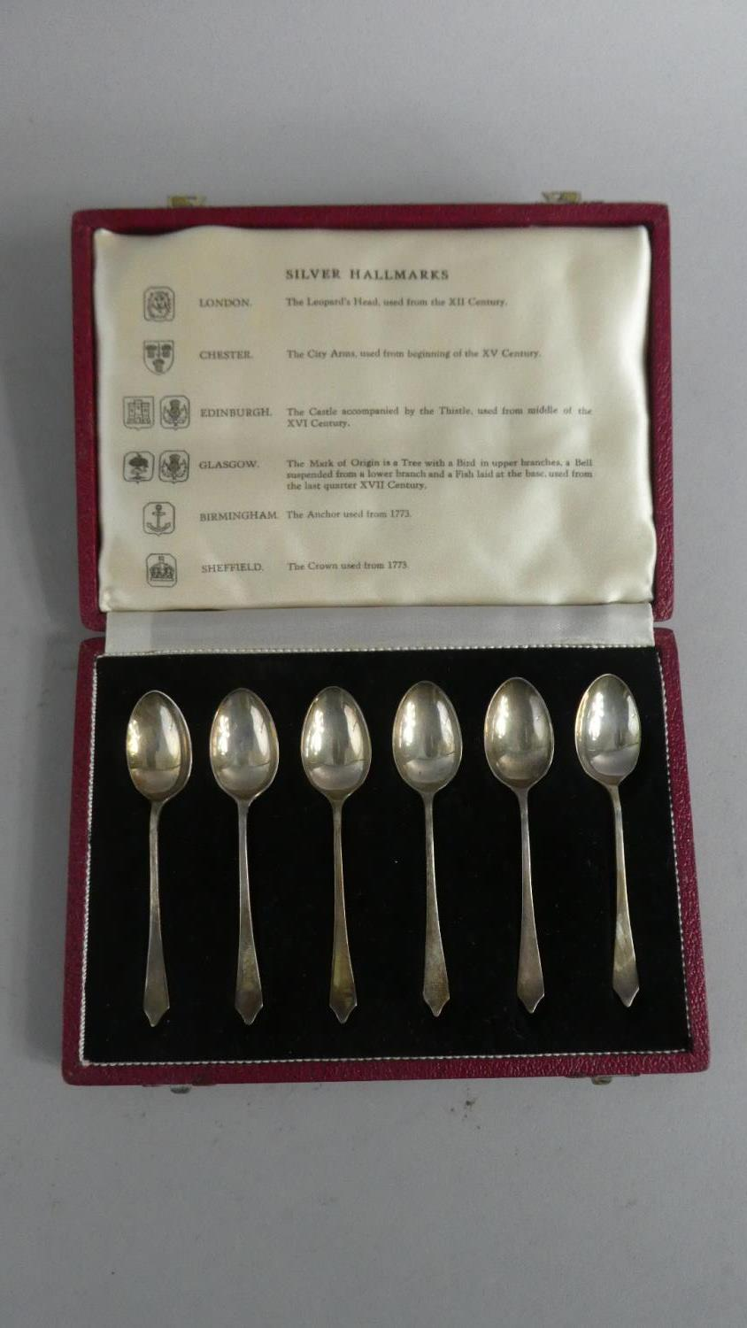 Lot 226 - A Cased Set of Six Silver Teaspoons Demonstrating the Different Assay Marks
