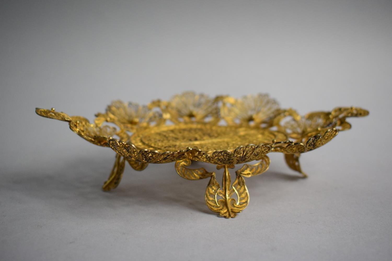 Lot 237 - A Cased Gilt Metal Filigree Oval Tray on Four Pierced Feet. 20.5cms Wide