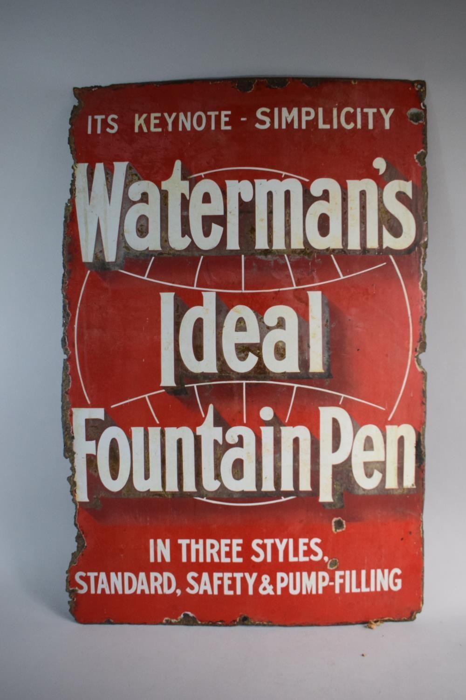 Lot 23 - A Vintage Enamel Sign for Waterman's Ideal Fountain Pen - Its Keynote - Simplicity. 50.5cm x 75.5cm