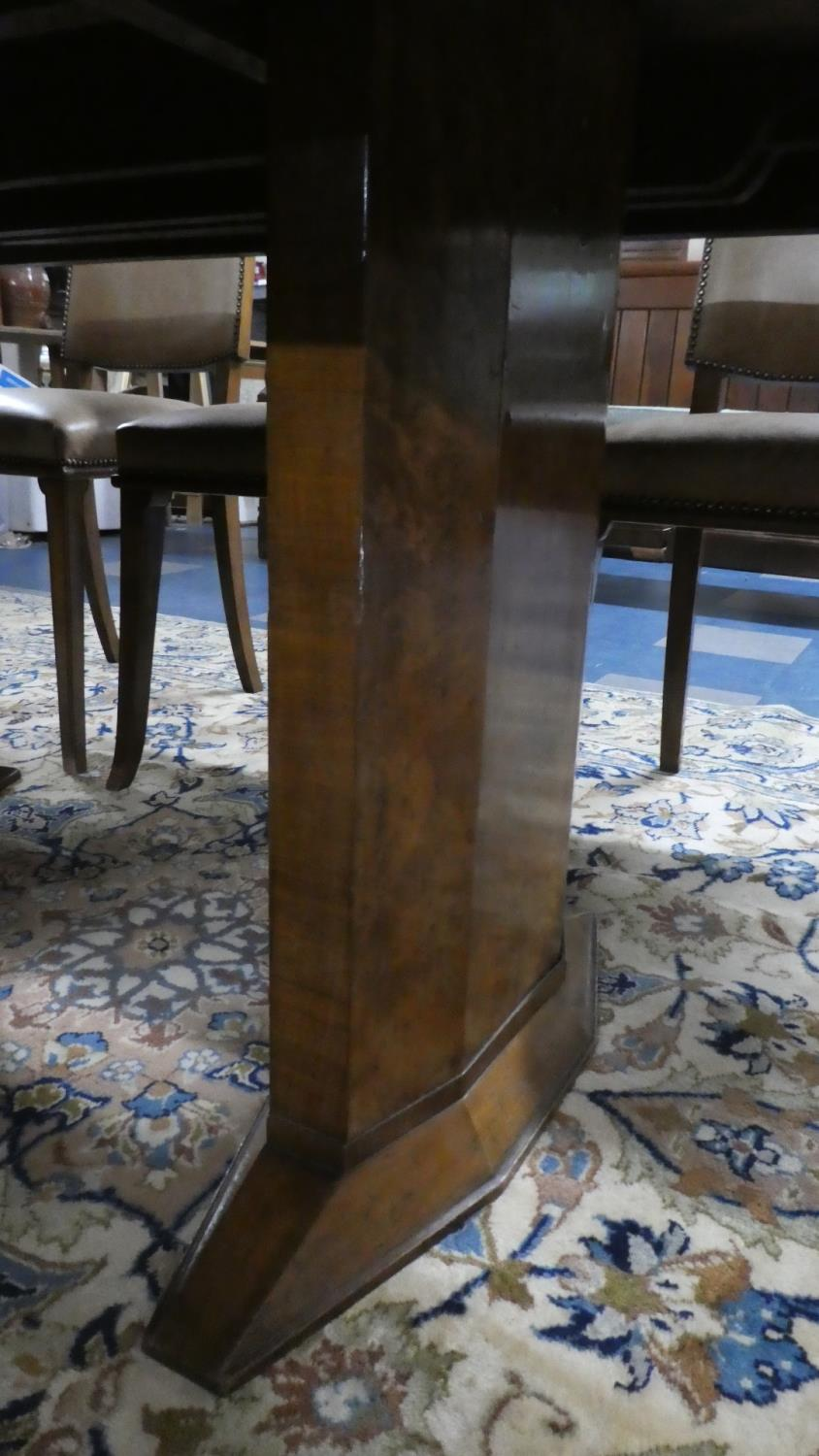 Lot 469 - A Good Burr Walnut Art Deco Dining Room Suite Comprising Shaped Extending Dining Table with One