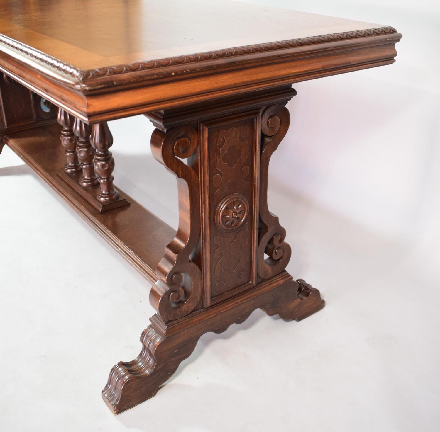 Lot 28 - A Reproduction Regency Mahogany Library Table with Carved Border and Central Tri Spindle Vase