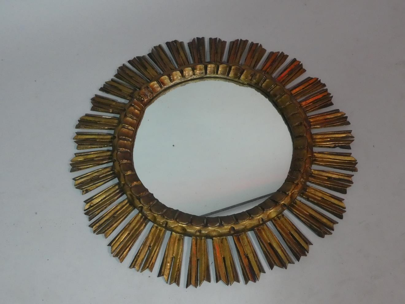 Lot 448 - A Reproduction Gilt Wood Starburst Mirror, 62cm Diameter