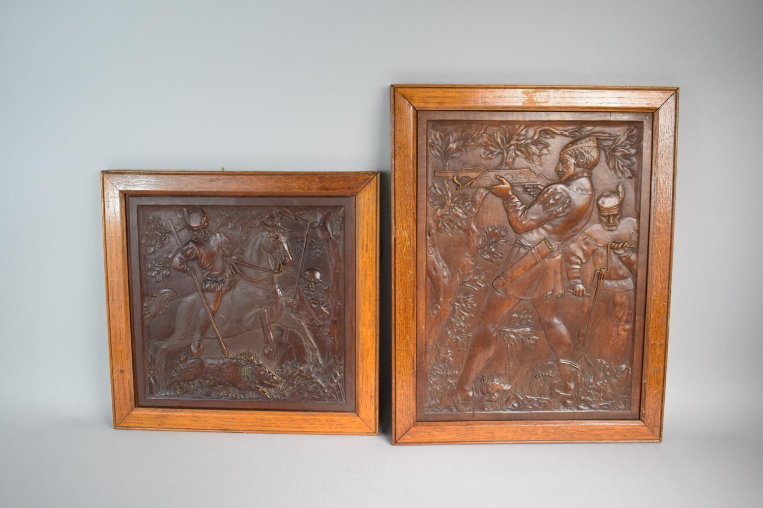 Lot 43 - Two Good Quality Oak Framed Continental Carved Walnut Panels Depicting Huntsman with Crossbow