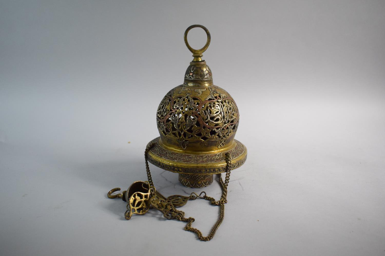 Lot 113 - An Islamic Cairo Ware Mosque Lamp with Chain Suspension