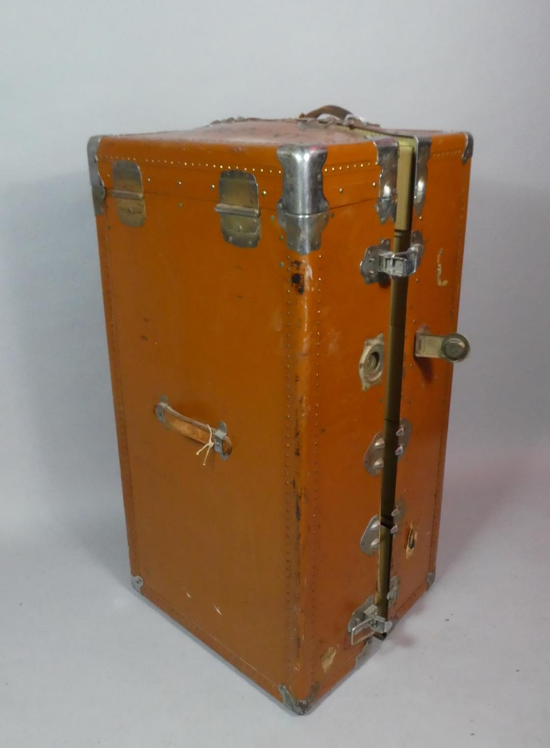 Lot 454 - A Vintage Steamer or Cabin trunk/Portmanteau with Five Fitted Drawers and Hanging Compartment