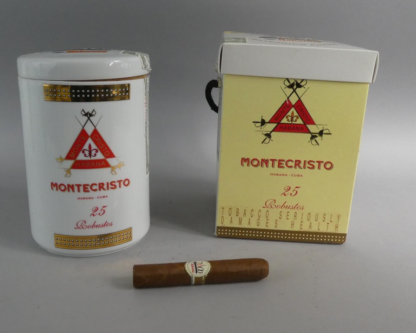Lot 110 - A Cigar Canister Containing 12 Montecristo Robusto Cuban Cigars with Cardboard Carton