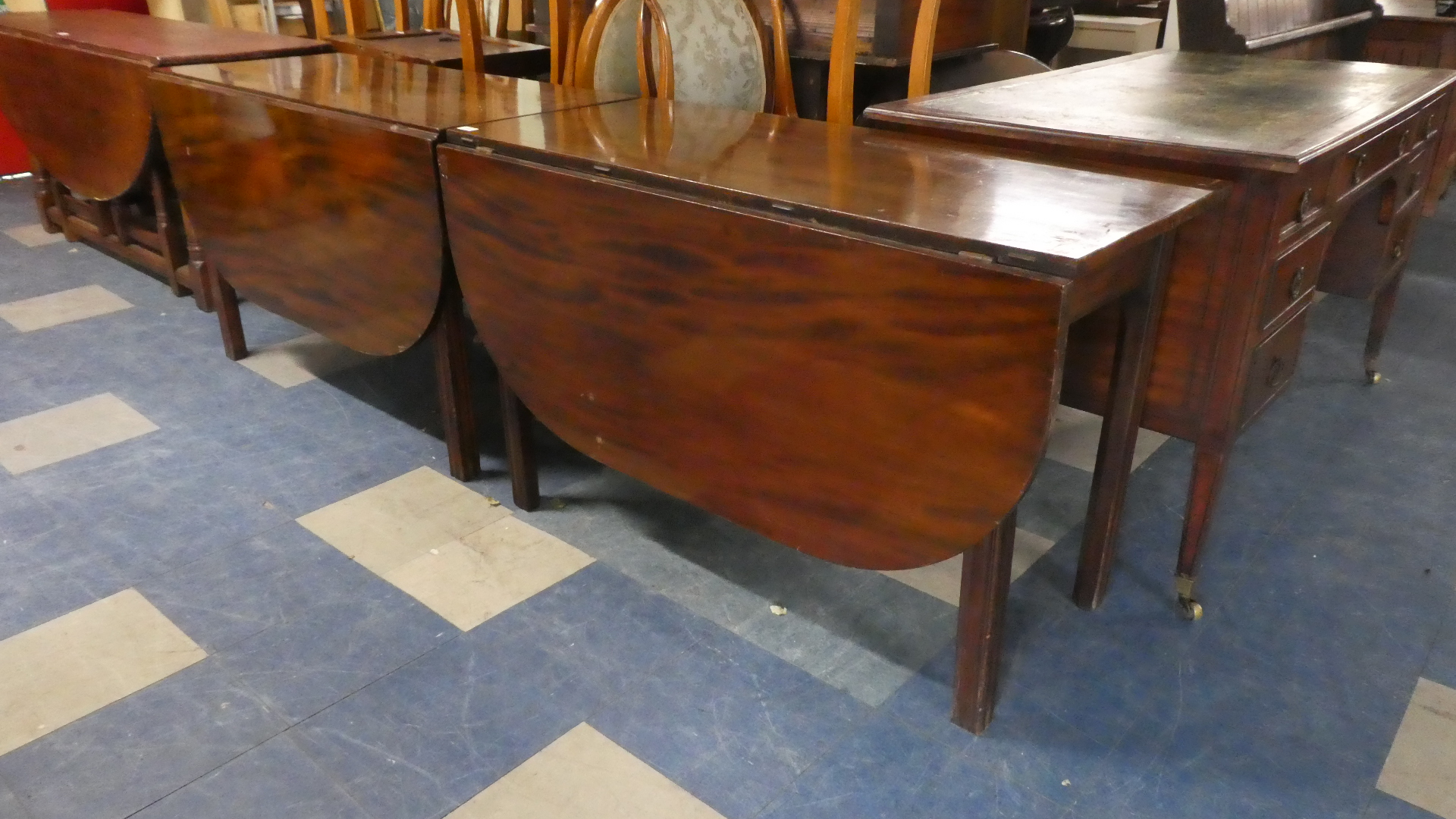 Lot 435 - A Pair of 19th Century Mahogany Drop Leaf D End Tables. Each 116.5cms Wide