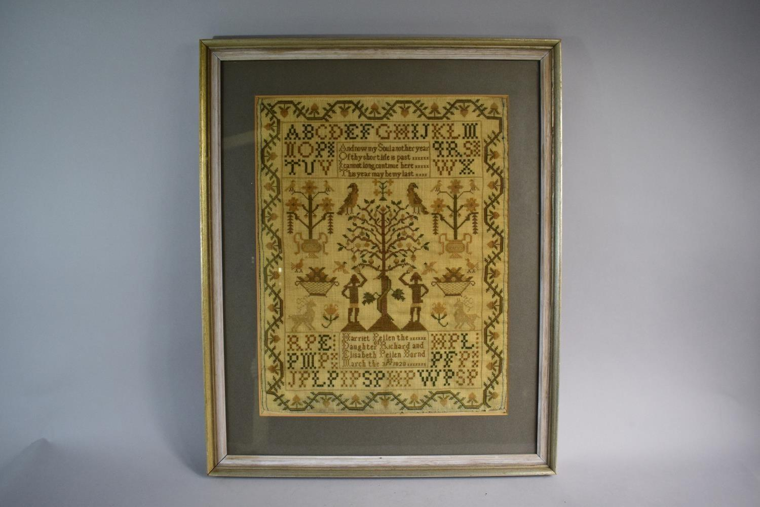Lot 6 - A Framed Early 19th Century Needlework Sampler Depicting Adam and Eve, Snake and Apple Tree Together
