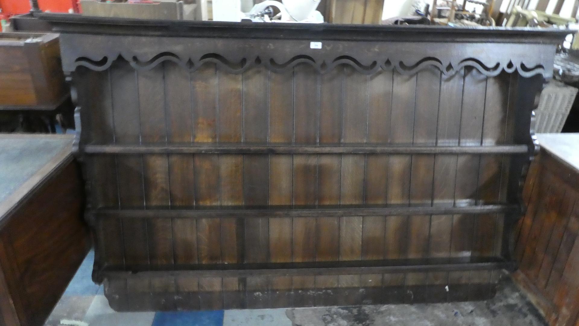Lot 256 - A 19th Century Oak Three Shelf Dresser Plate Rack with Pierced Cornice. 190cms Wide