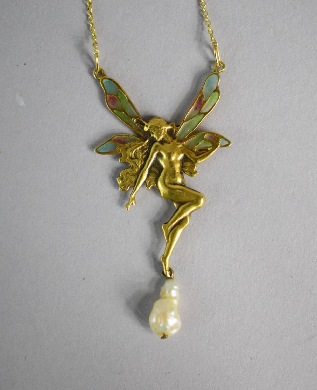 Lot 330 - A 14ct Gold Pendant in the Form of an Angel with Coloured Plique a Jour Translucent Wings Baroque