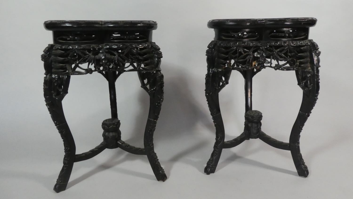Lot 53 - A Pair of Chinese Hardwood Vase Stands of Tri-form Shape with Carved, Pierced and Moulded
