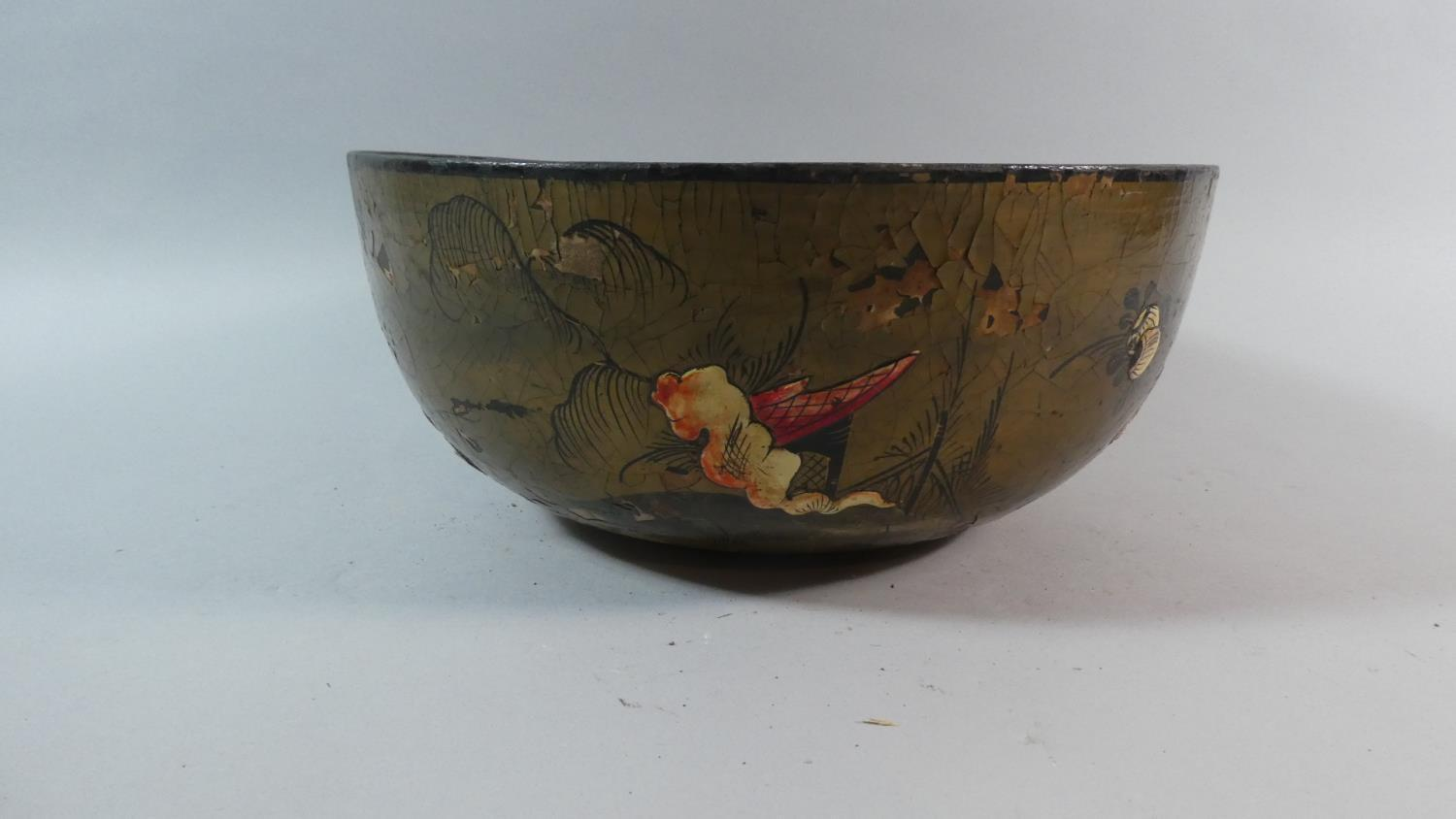 Lot 46 - An Early 19th Century Regency Chinoiserie Decorated Lacquered Papier Mache Bowl. 30cm Diameter