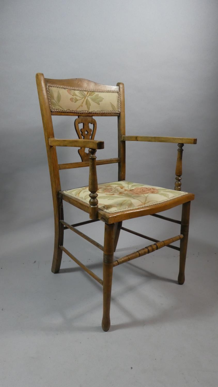 Lot 124 - An Inlaid Edwardian Ladies Armchair with Pierced Splat
