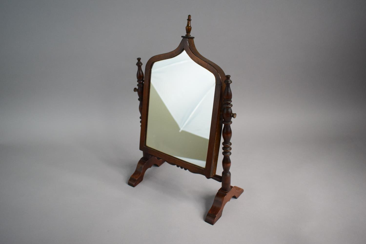 Lot 3 - A Pretty 19th Century Mahogany Framed Small Dressing Table Mirror with Turned Supports and Shaped