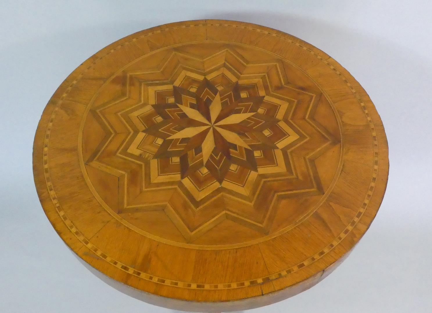 Lot 57 - A Late 19th/Early 20th Century Italian Sorrento Ware Pedestal Table with a Parquetry Starburst
