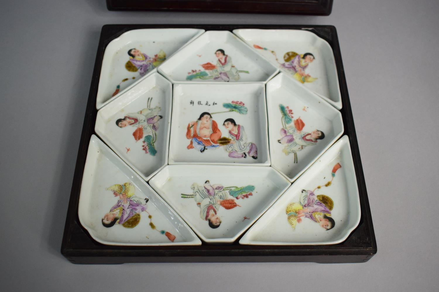 Lot 421 - A Mid 20th Century Chinese Republic Ceramic Hors D'oeuvres Set, In Wooden Box with Glazed Top Panel.
