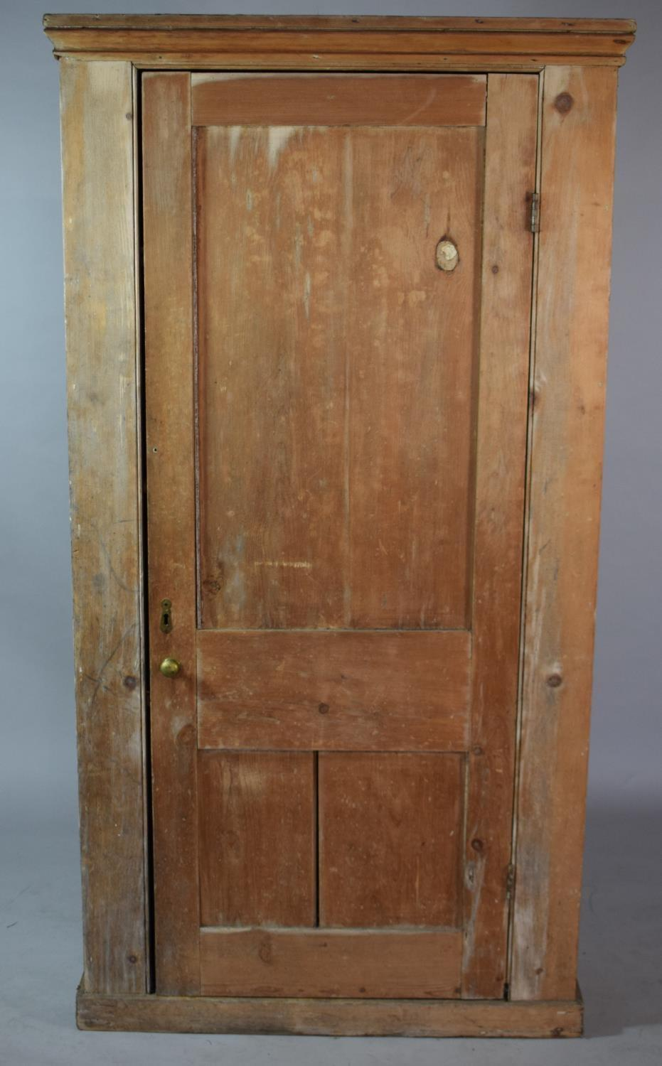 Lot 471 - A 19th Century Stripped Pine Shelved Cupboard. 97x34x183