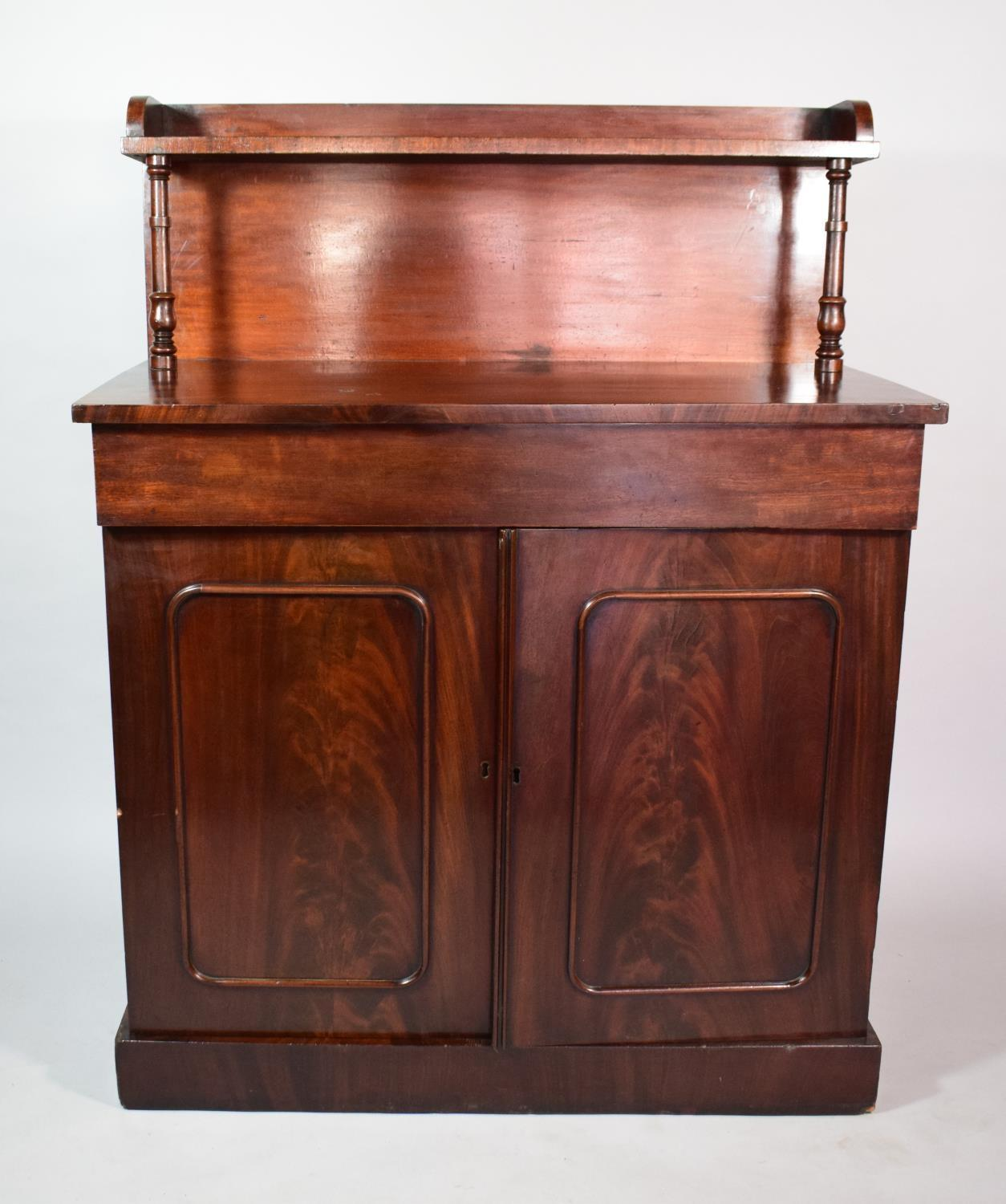 Lot 493 - A Victorian Mahogany Buffet having Galleried Back with Turned Spindle Supports and Single Shelved