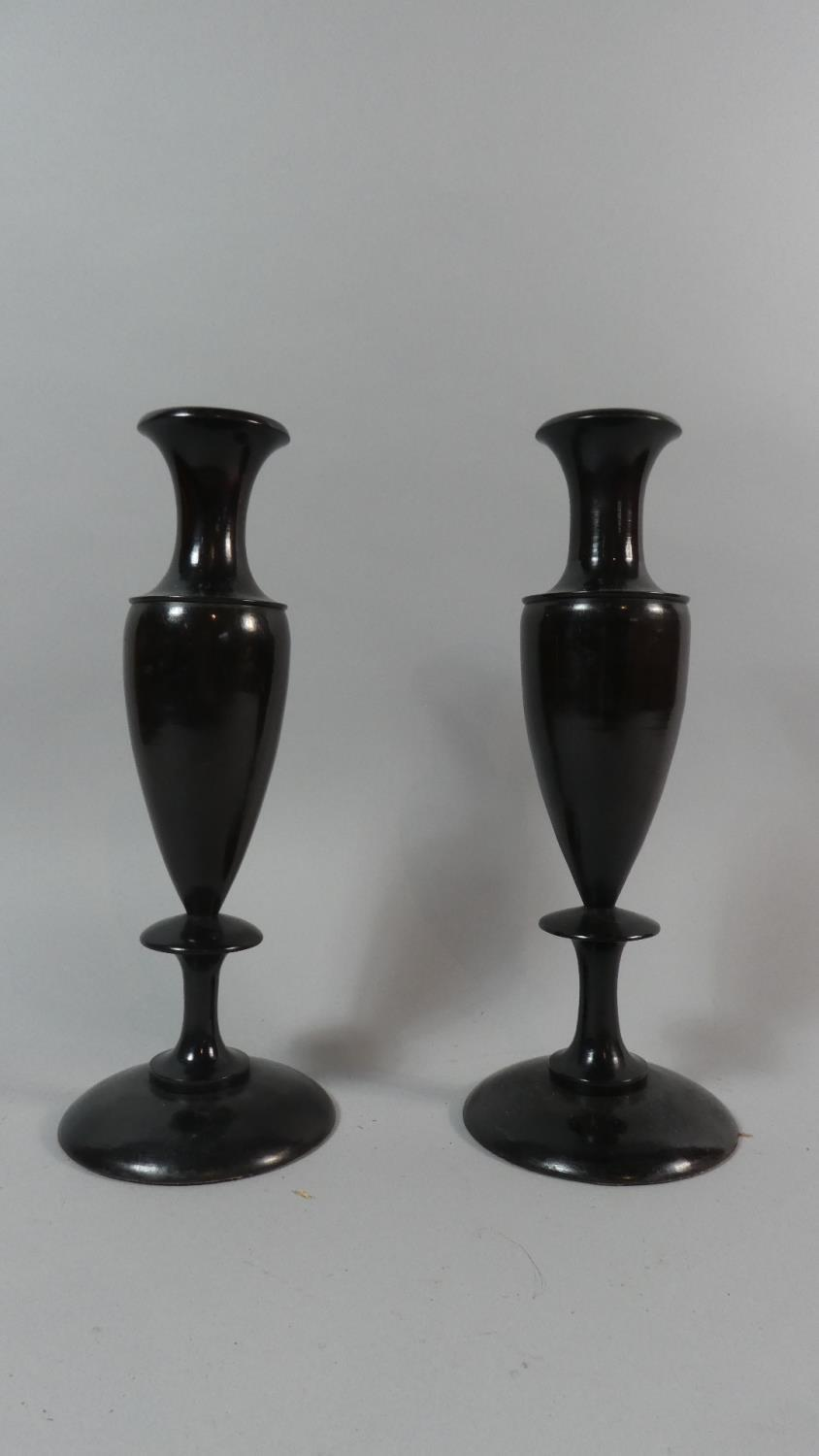 Lot 51 - A Pair of Early 20th Century French Art Deco Period Macassar Ebony Vases. 28cm High