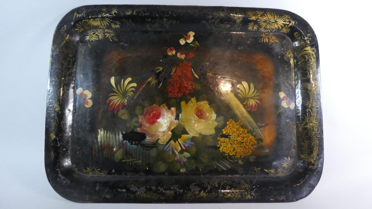 Lot 33 - An Early 20th Century Welsh Pontypool Toleware Tray Decorated with Typical Polychrome Painted