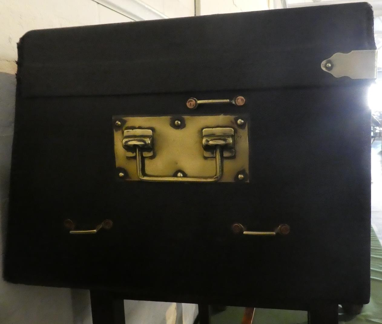 Lot 58 - An Early 20th Century Motoring Trunk with a Black Canvas Covered Body and with a Slanted Shaped Back