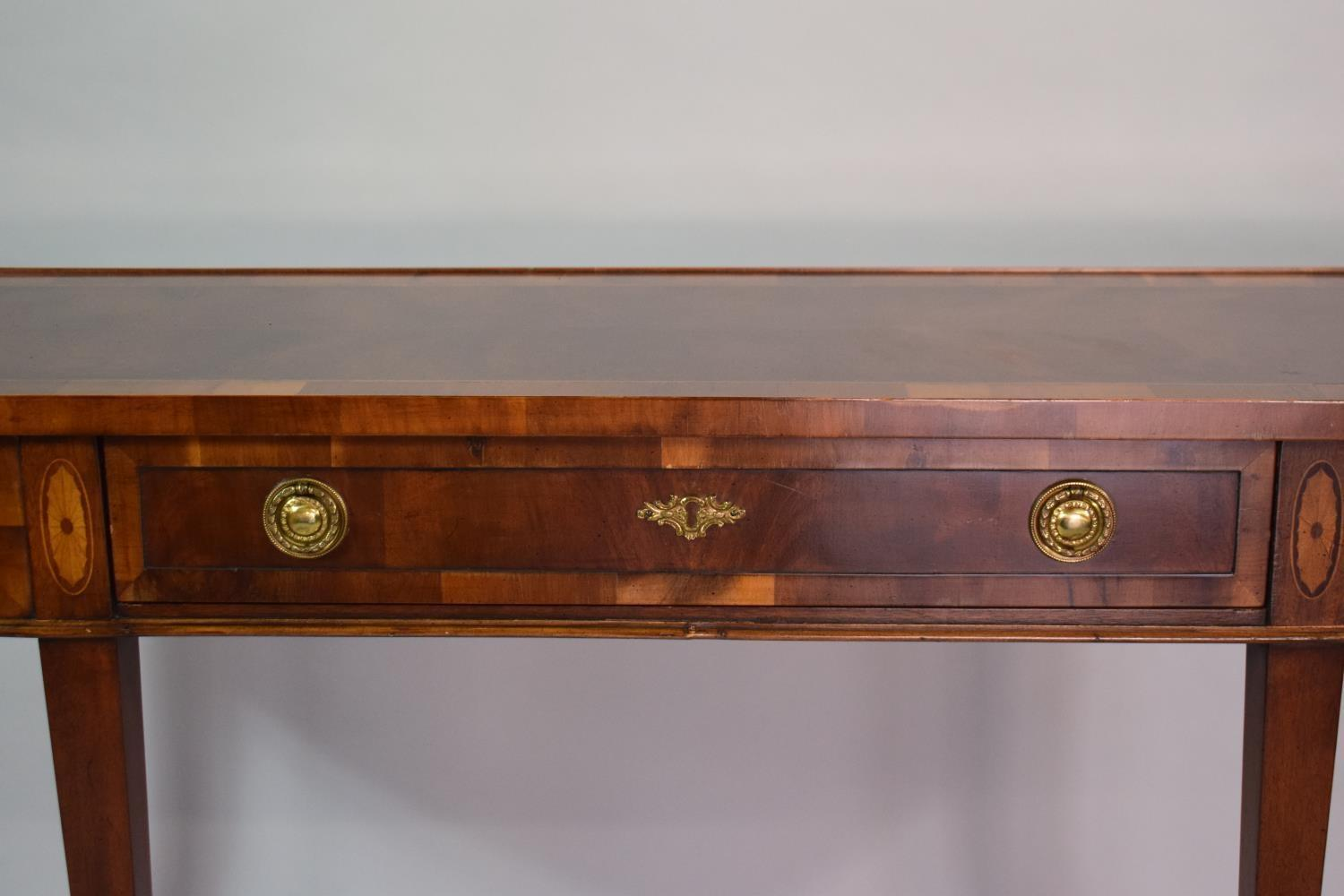 Lot 1 - A Reproduction Inlaid Mahogany Bowfront Table set on Square Tapering Legs with Central Long