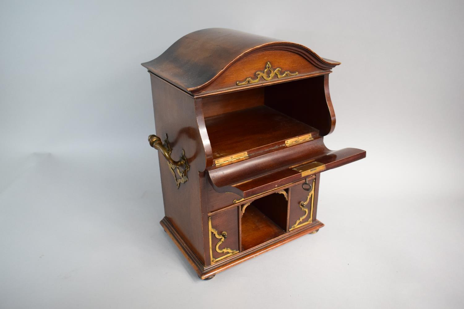 Lot 24 - A French Ormolu Mounted Mahogany Stationery Cabinet with Side Carrying Handles. Hinged Pull Front to