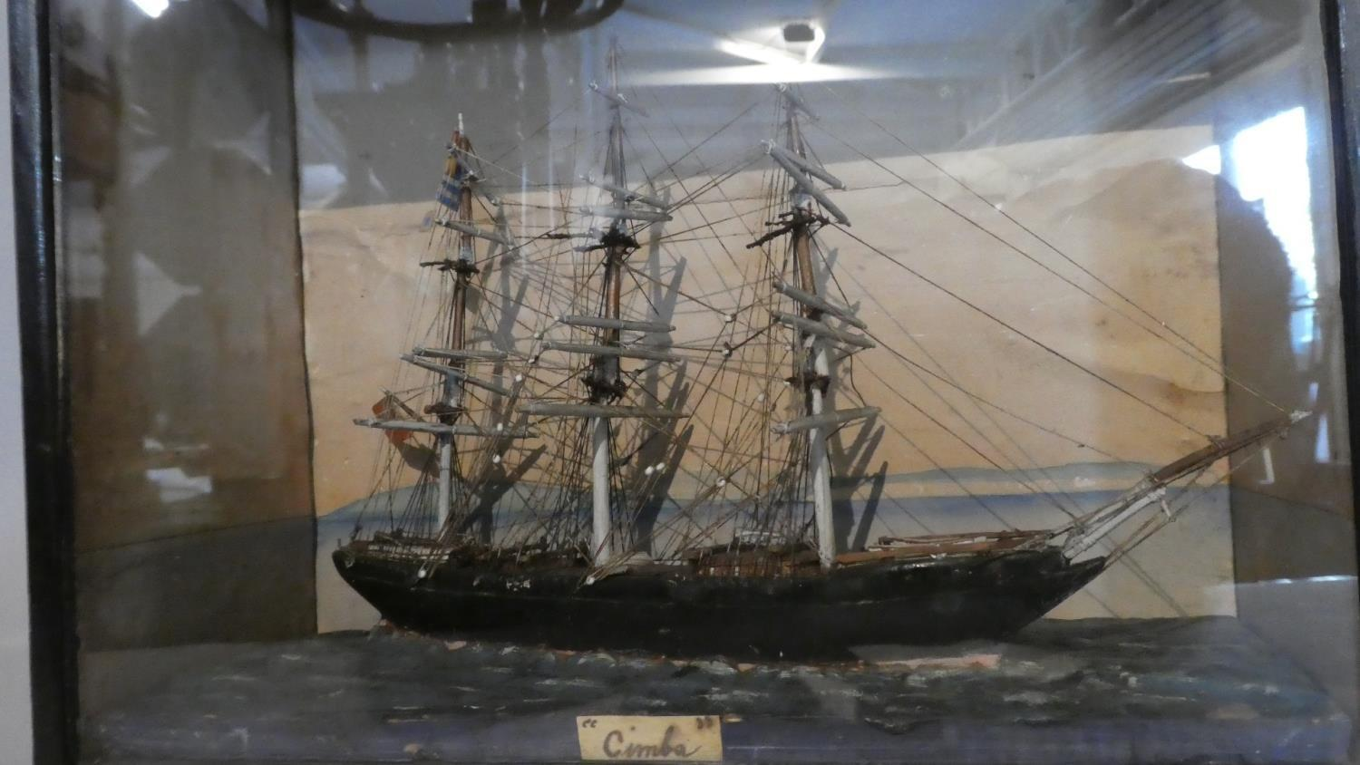 Lot 22 - A 19th Century Folk Art Ship Diorama in a Glazed Painted Wooden Case, Entitled 'Cimba', 14cm x