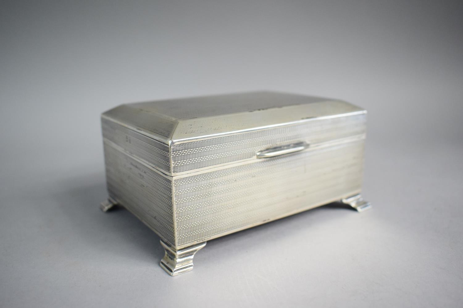 Lot 218 - A Silver Cigarette Box with Engine Turned Decoration. 13cm Wide, Birmingham 1928