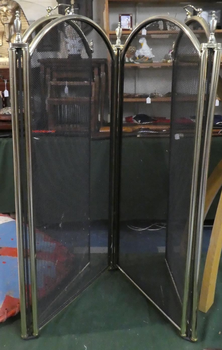 Lot 285 - A Modern Brass Framed Four Fold Fire Screen