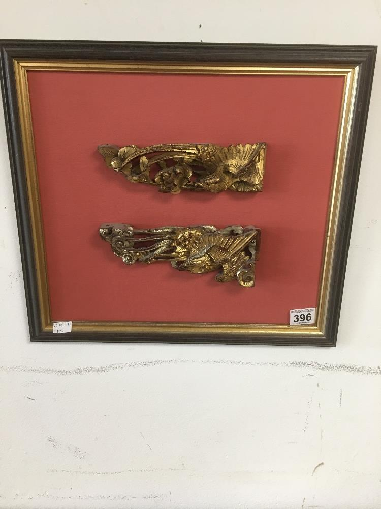 Lot 396 - TWO ORIENTAL CARVED CHINESE WOODEN CARVED PIECES IN GILDED DETAIL 196 X 11 CMS