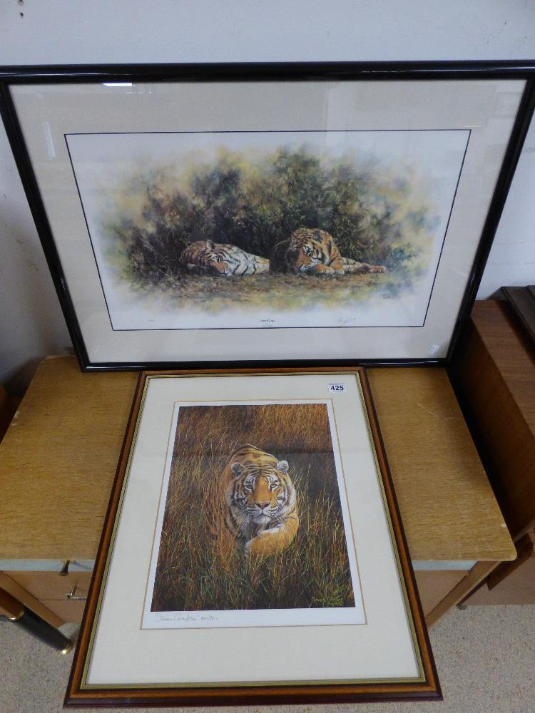 Lot 425 - TWO FRAMED AND GLAZED SIGNED PRINTS ONE TONY FORREST ENTITLED 'LAZY DAYS' AND THE OTHER SIMON COMBES