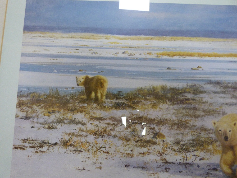 Lot 149A - A FRAMED AND GLAZED SIGNED PRINT BY DAVID SHEPHERD TITLED LONE WANDERERS OF THE ARCTIC 100 X 76CMS