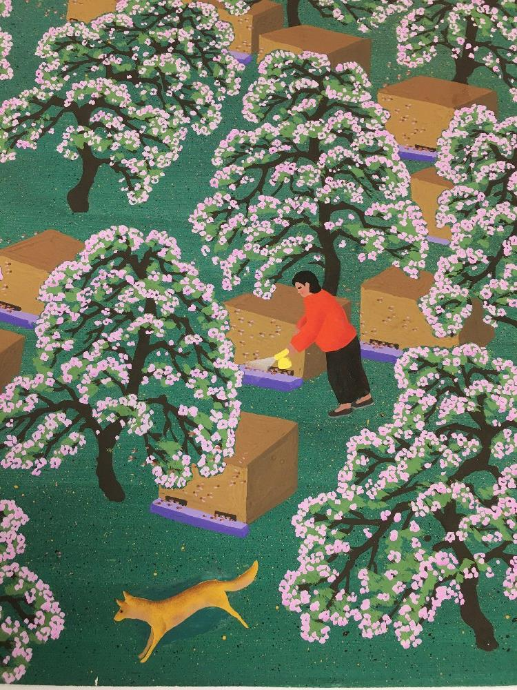 Lot 541 - A VINTAGE CHINESE FARMER'S WATERCOLOUR PAINTING SHOWING A FARMER AMONGST TREES, ARTISTS SIGNATURE TO