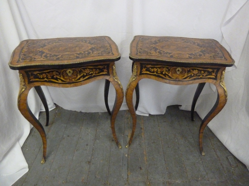 Lot 11 - A pair of Louis XVI style rectangular Kingswood inlaid side tables with hinged covers revealing