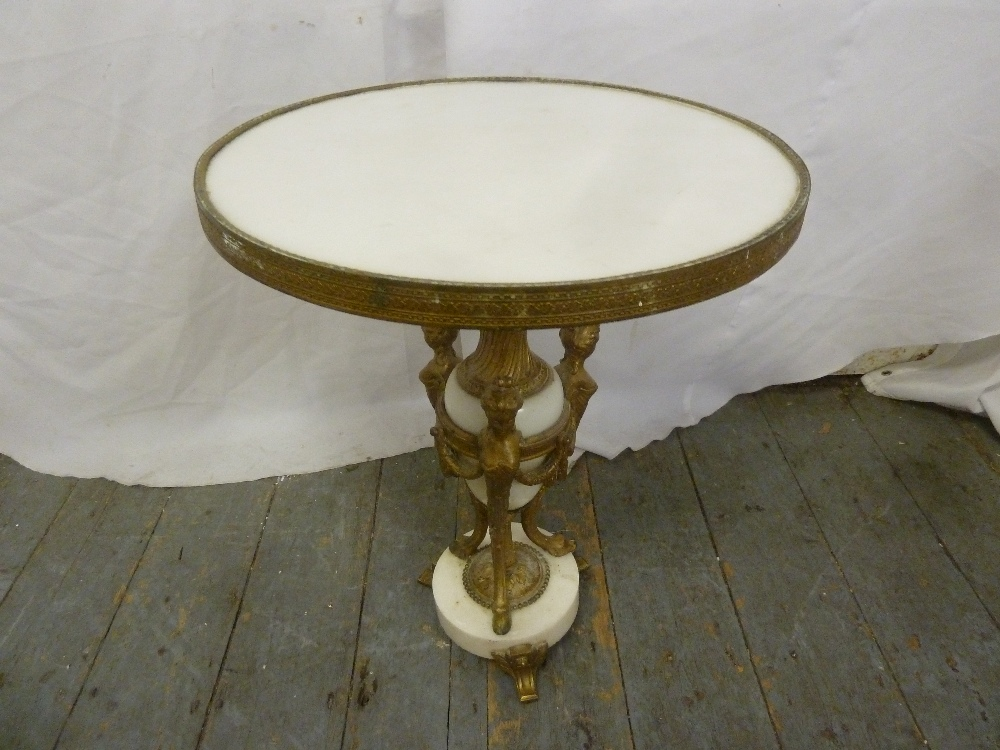 Lot 27 - A French 19th century gilded metal and white marble circular table, the vase form stem flanked by
