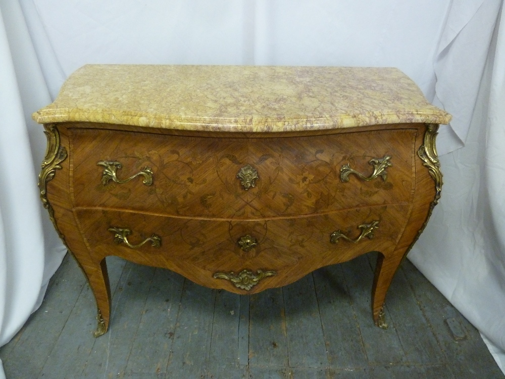 Lot 6 - A Louis XVI style rectangular Kingswood inlaid chest of drawers, with marble top and gilded metal
