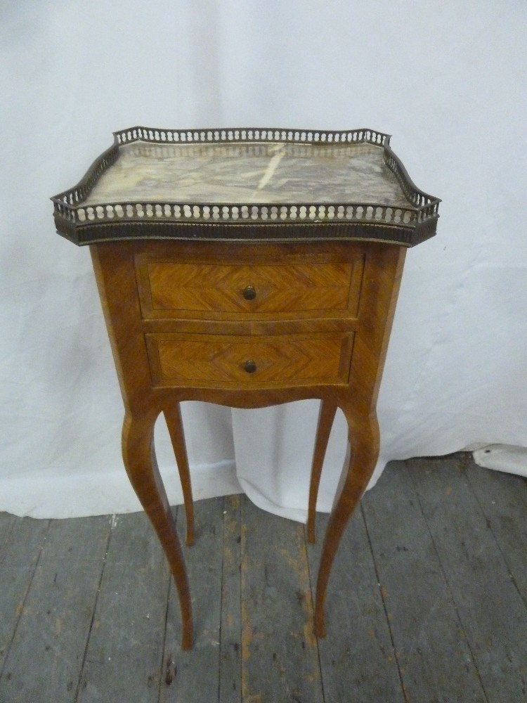 Lot 13 - A Louis XVI style side table, two drawers, marble galleried top, on four cabriole legs