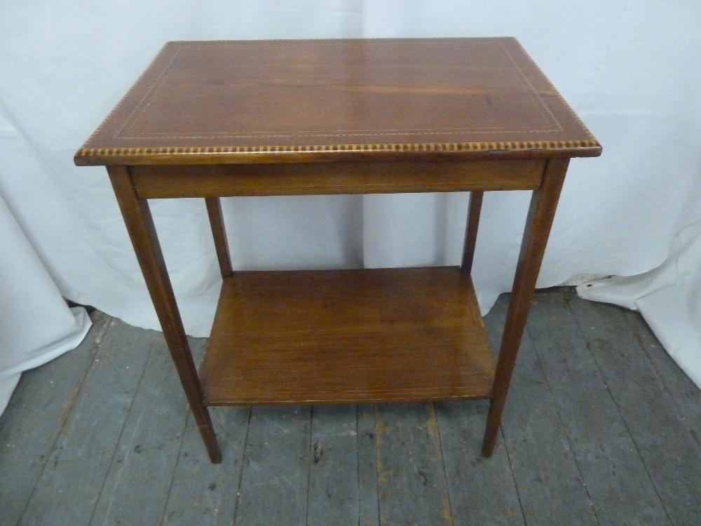 Lot 18 - A mahogany rectangular hall table with cross-banded border and satinwood inlay