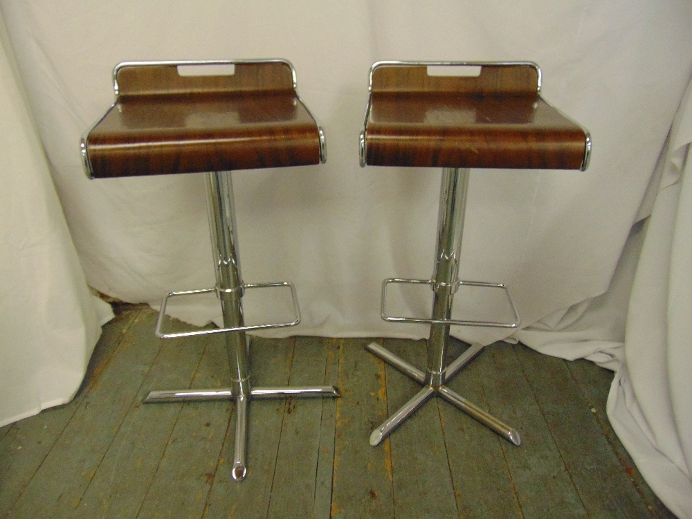 Lot 51 - A pair of bentwood and chrome bar stools