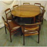 Lot 19 - A Danish mid 20th century shaped oval rosewood dining table and eight matching dining chairs (