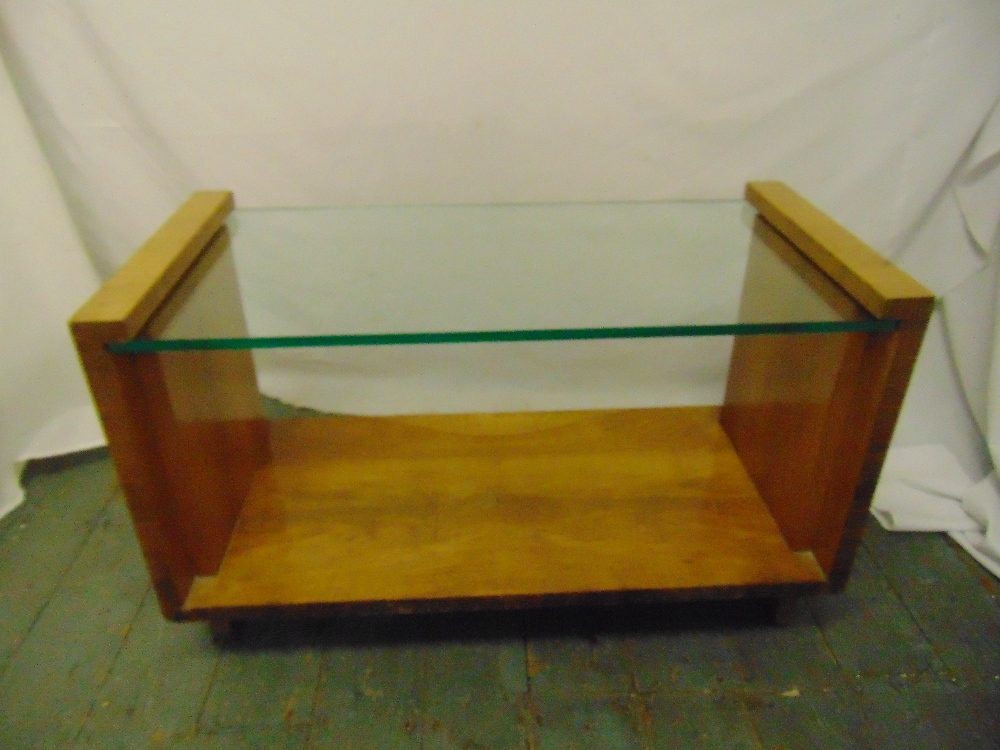 Lot 34 - An Art Deco rectangular glass and satinwood coffee table