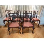 Lot 41 - A set of six mahogany Chippendale style dining chairs to include two carvers