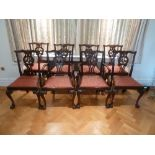 Lot 40 - Eight mahogany Chippendale style dining chairs to include two carvers