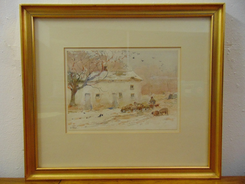 Lot 50 - Claude Hayes framed and glazed watercolour of sheep by a barn, signed bottom left, 18 x 25cm