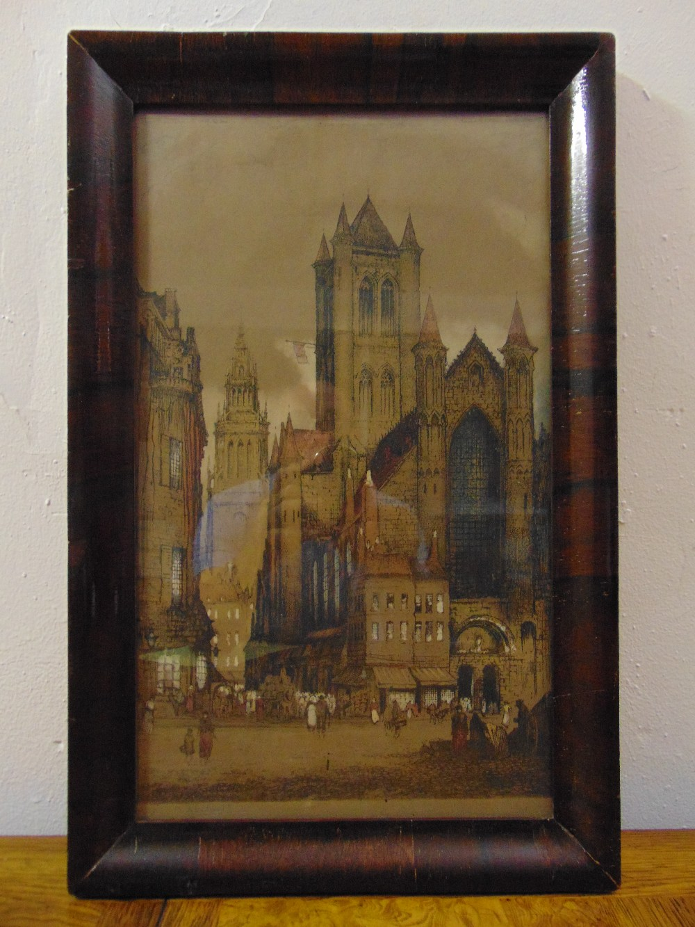 Lot 30 - Edward W. Sharland framed and glazed polychromatic etching of a cathedral, signed bottom left, 44