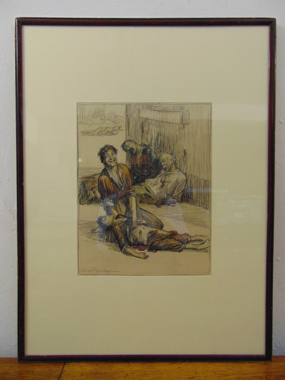 Lot 34 - Louis Raemaekers framed and glazed polychromatic drawing titled Mater Dolorosa, signed bottom