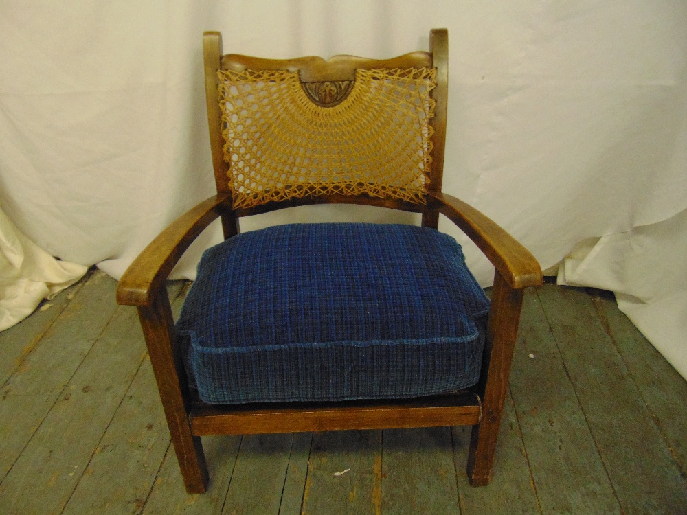 Lot 18 - A mahogany childs chair with bergere back and upholstered seat on tapering rectangular legs